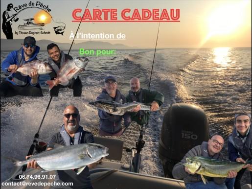 carte cadeau. journée de pêche